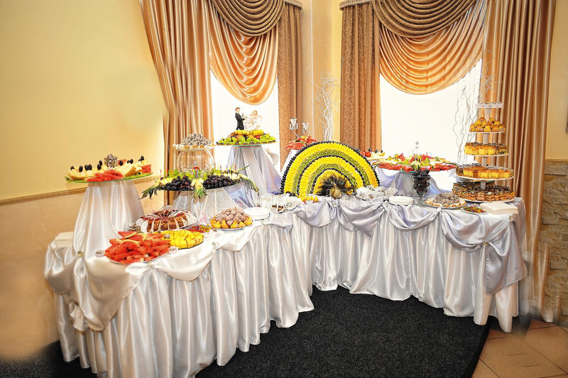 Wedding reception. Food and drink stock image