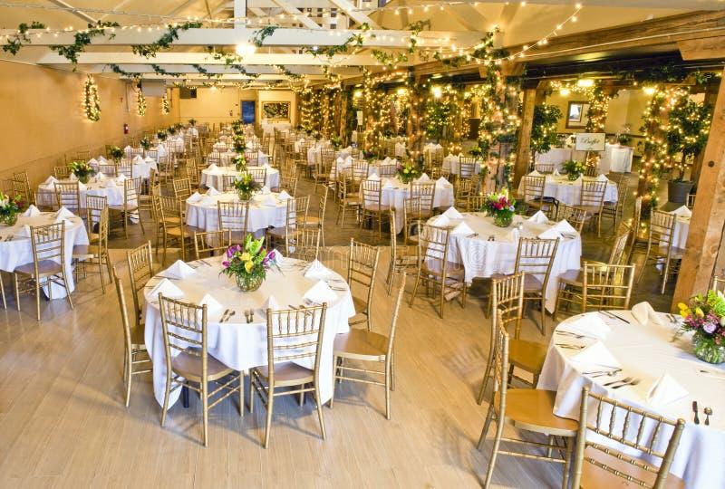 Wedding reception hall stock photo