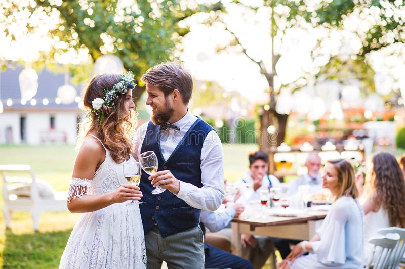 Bride and groom clinking glasses at wedding reception outside in the backyard. stock image