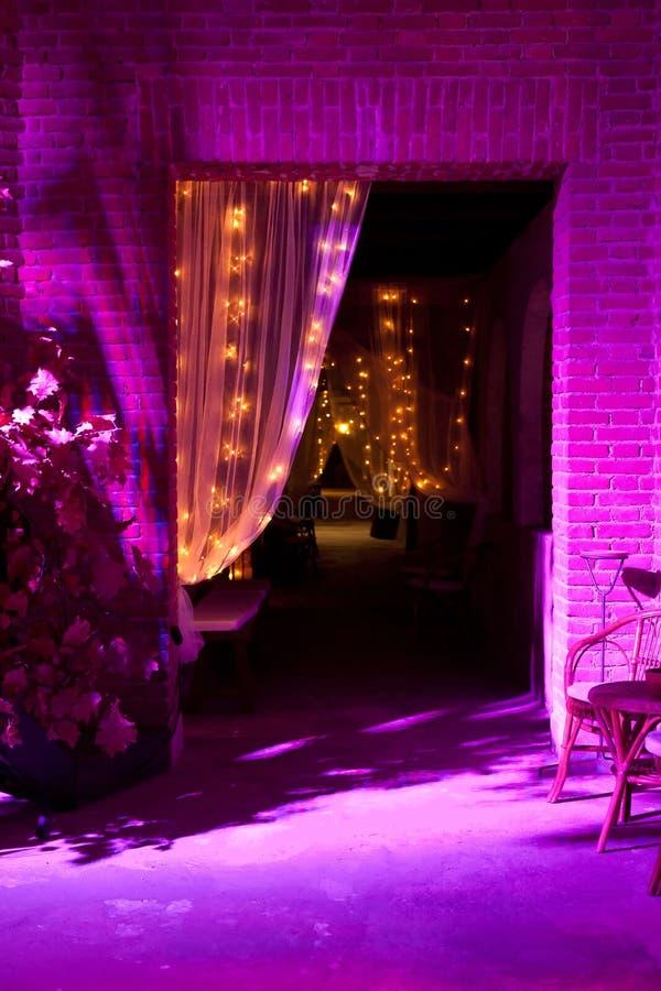Outdoor wedding reception. Wedding reception in restaurant the night stock photo