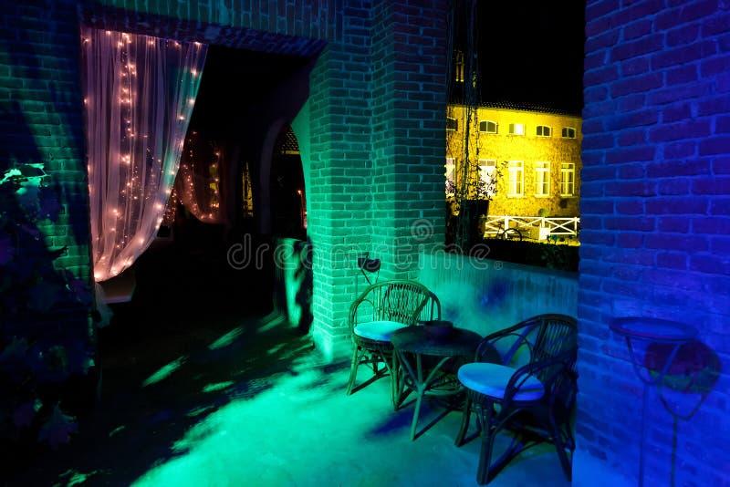 Outdoor wedding reception. Wedding reception in restaurant the night royalty free stock image