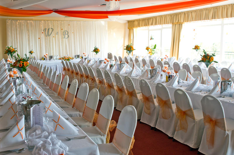 Download Wedding reception room stock image. Image of orange, luxurious - 25401215