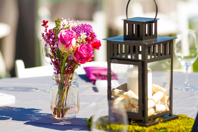 Indoor Wedding Venue Royalty Free Stock Photo: Wedding Reception Table Details Stock Image