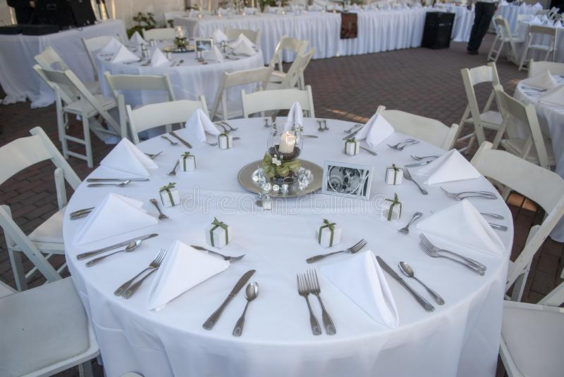 Wedding reception table with place settings. Beauty, food and drink, party, luxury stock photography