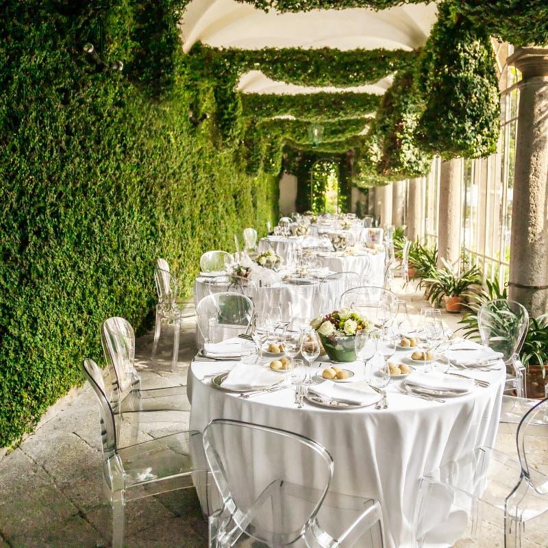Wedding reception table stock image