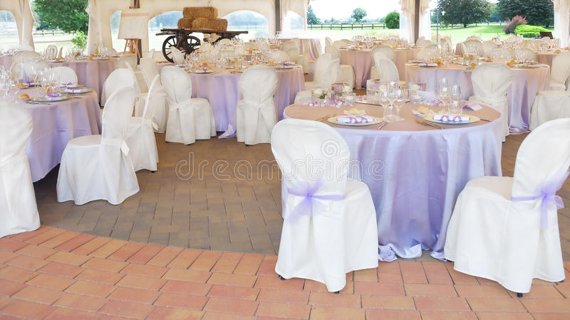 Wedding reception table. Tables decorated for a party or wedding reception royalty free stock photography