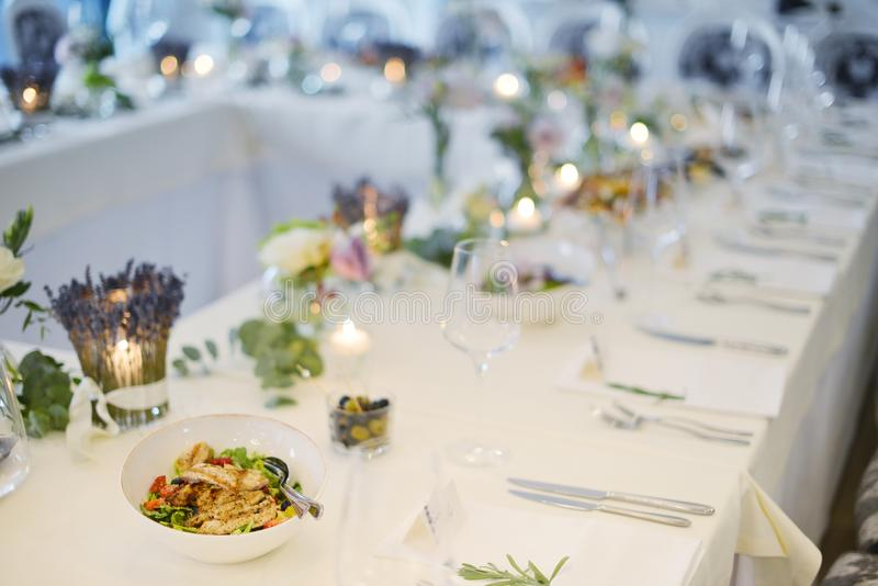 Wedding reception table. Wedding reception place ready for guests. table with food and drink stock photography