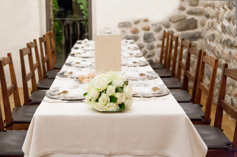 Wedding reception tables. Tables decorated for a party or wedding reception stock photo
