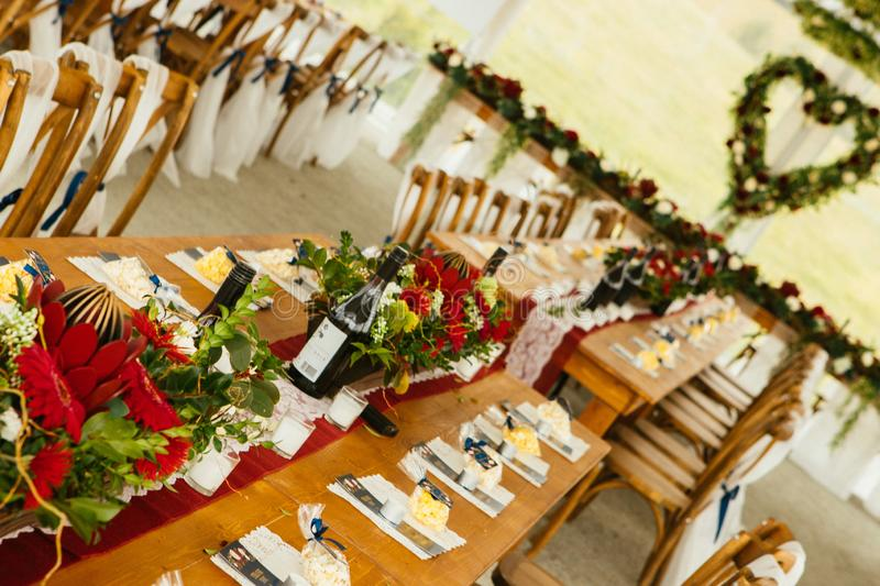 Wedding reception venue and dinner table decoration stock images