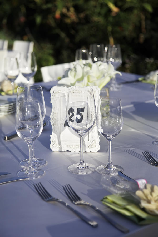 Wedding Reception. Wedding table outdoor. stock photo
