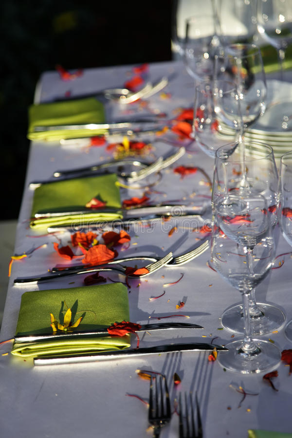 Wedding Reception. Wedding table outdoor. royalty free stock photography