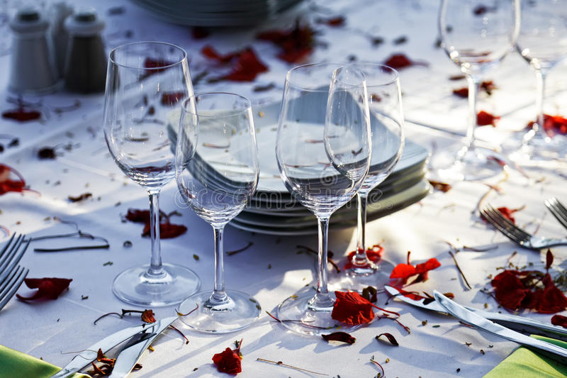 Wedding Reception. Wedding table outdoor. stock photography