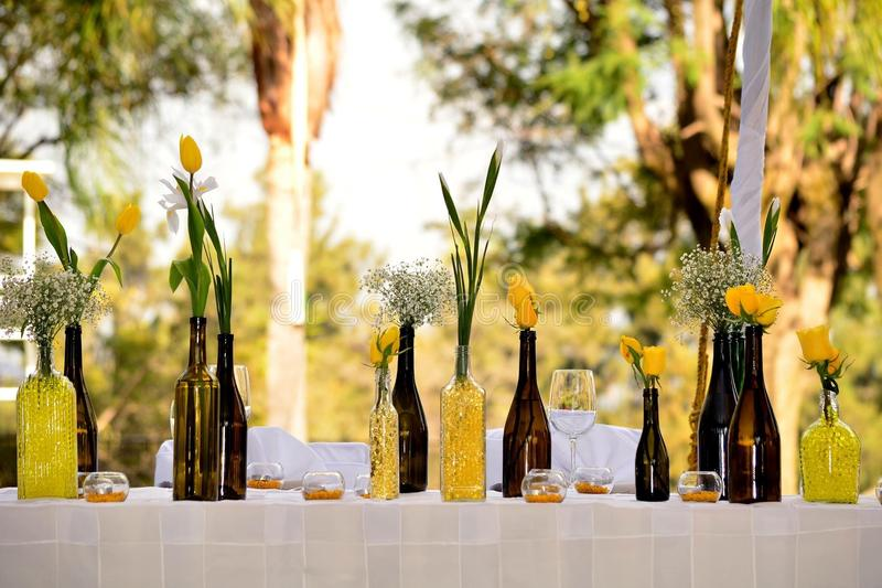 Wedding reception yellow event stock photo