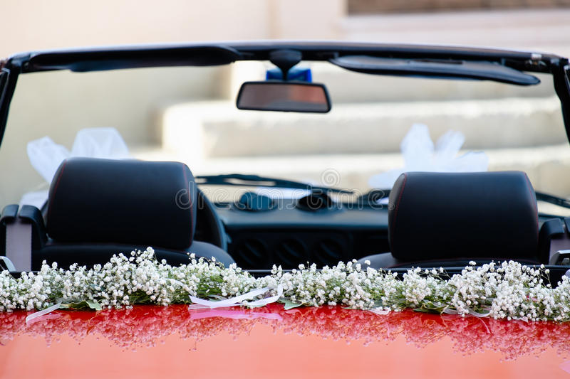 Wedding red car stock images