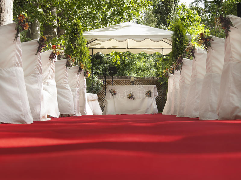 Wedding red carpet to Altar