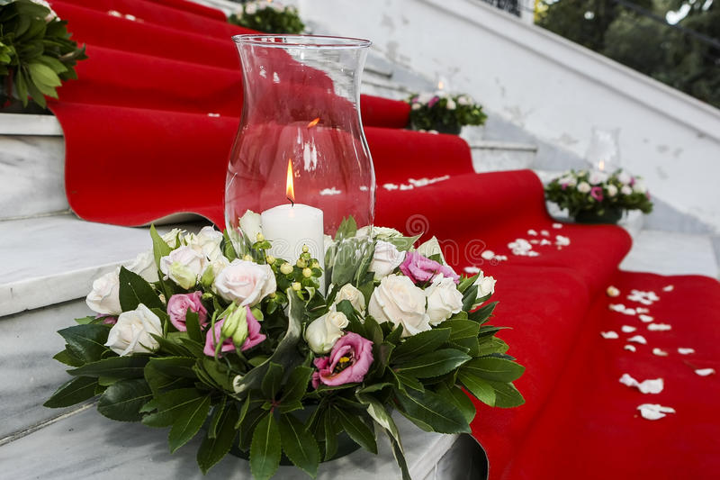 Download Wedding Red Carpet With White Candles In Church Stairs Stock Photo - Image: 59622832