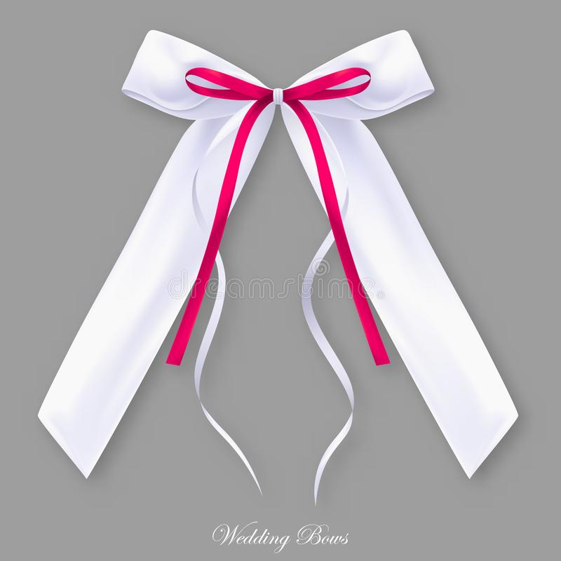 Wedding red white silk bow. Object vector illustration
