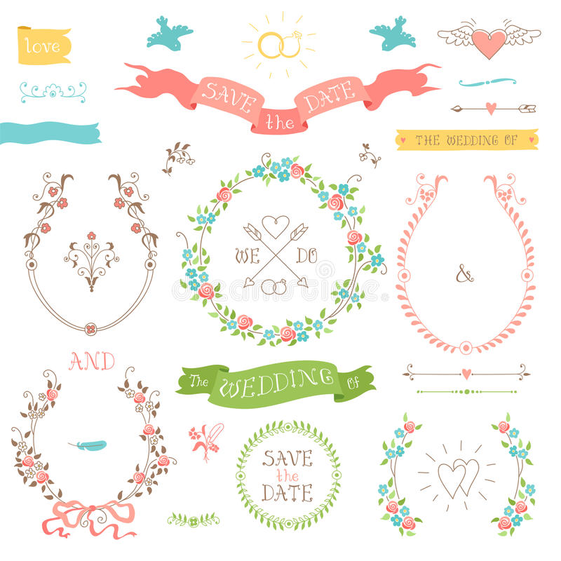 Wedding retro set. Hearts, birds and ribbons. royalty free illustration