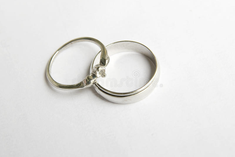 Wedding ring. A pair of wedding ring on white background stock photo