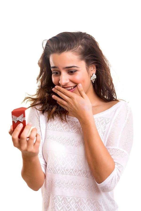 Wedding Ring. Beautiful young woman recieving wedding ring stock photos