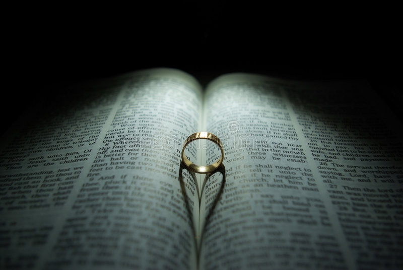 Wedding Ring and Bible stock image Image of care reflection