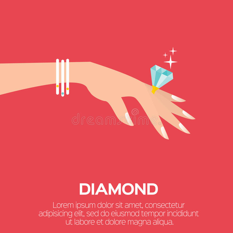 Wedding Ring with a big shining diamond. On graceful women's hand. Wedding concept. Marriage proposal. Design illustration stock illustration