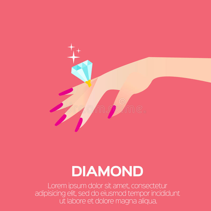 Wedding Ring with a big shining diamond. On graceful women's hand. Wedding concept. Marriage proposal. Design vector illustration stock illustration