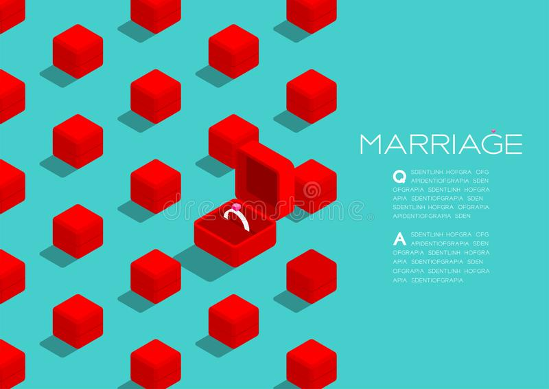 Wedding ring box red color 3D isometric pattern, Marriage concept poster and social banner post horizontal design illustration. Isolated on green background vector illustration
