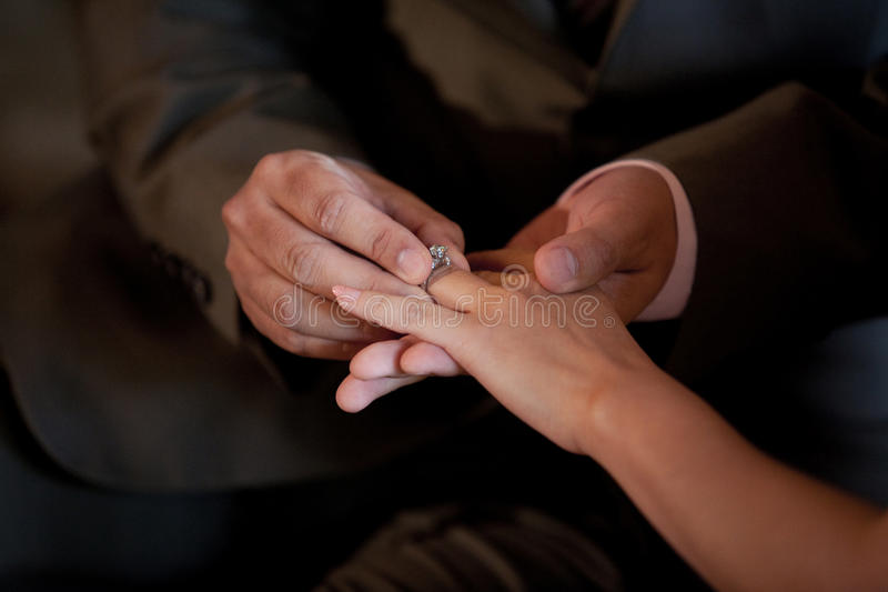 Download Wedding Ring On The Bride Finger Royalty Free Stock Image - Image: 25942766