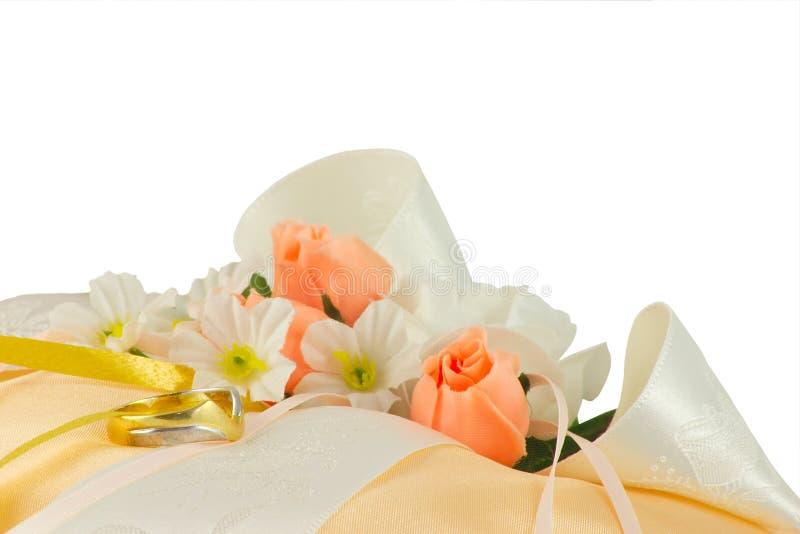 Wedding ring cushion royalty free stock photos