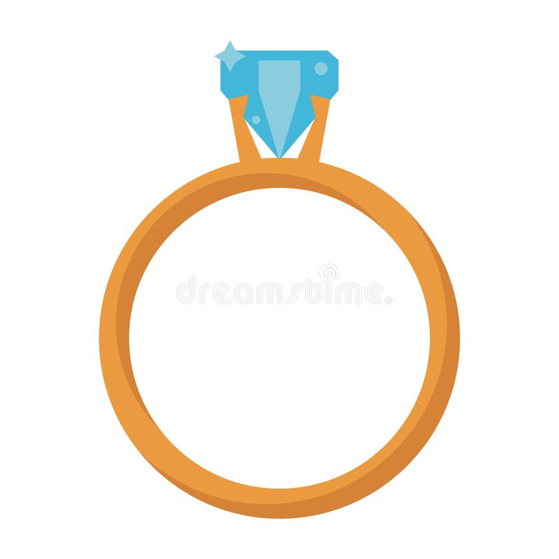 Wedding ring with diamond. Isolated vector illustration graphic design royalty free illustration