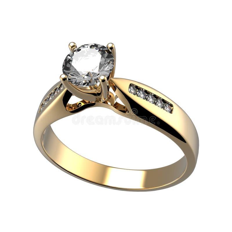 Wedding ring with diamond. Sign of love. Wedding ring with diamond on white background. Sign of love stock illustration