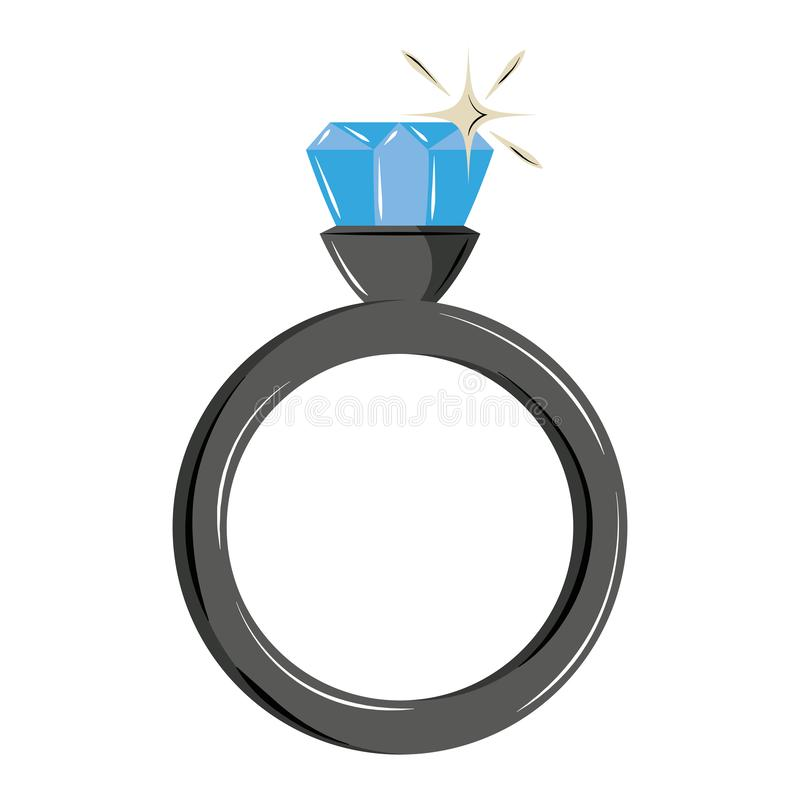 Wedding ring with diamond. Vector illustration graphic design royalty free illustration