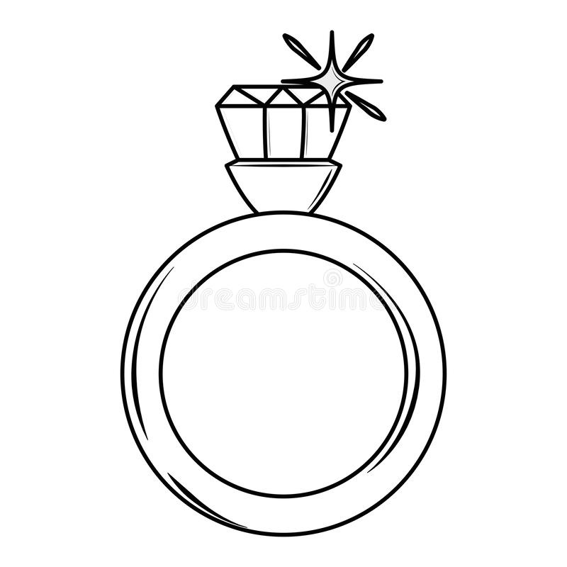 Wedding ring with diamond. Black and white vector illustration graphic design vector illustration