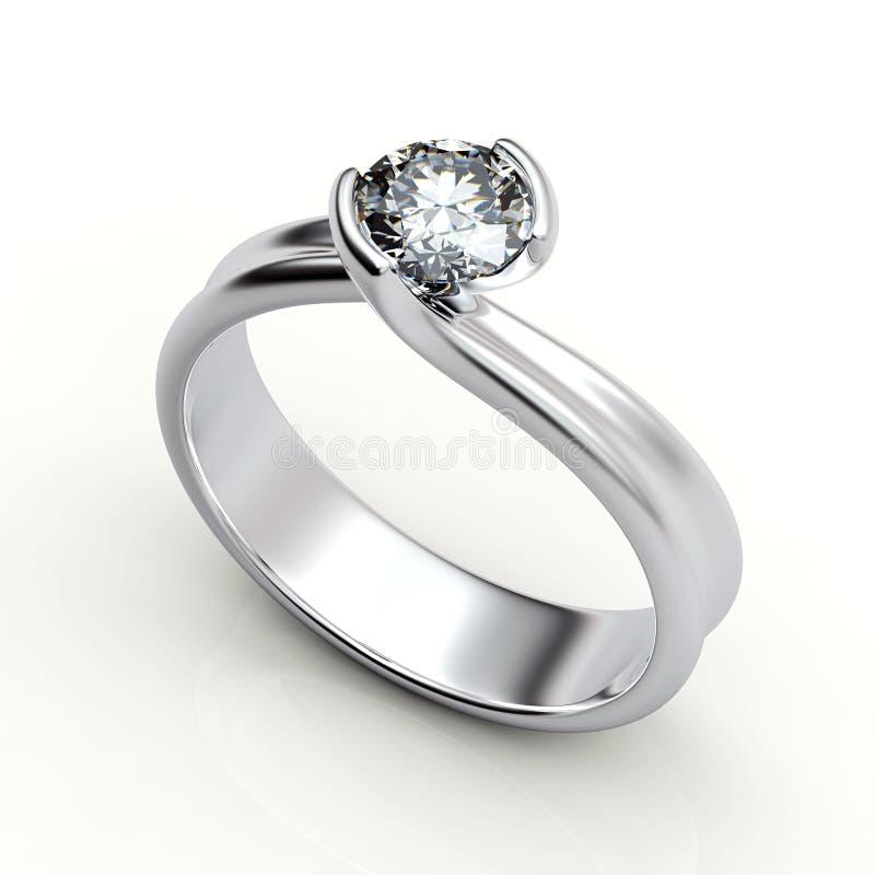 Wedding ring with diamond on white background. Sign of love. Wedding ring with diamond on white background royalty free illustration