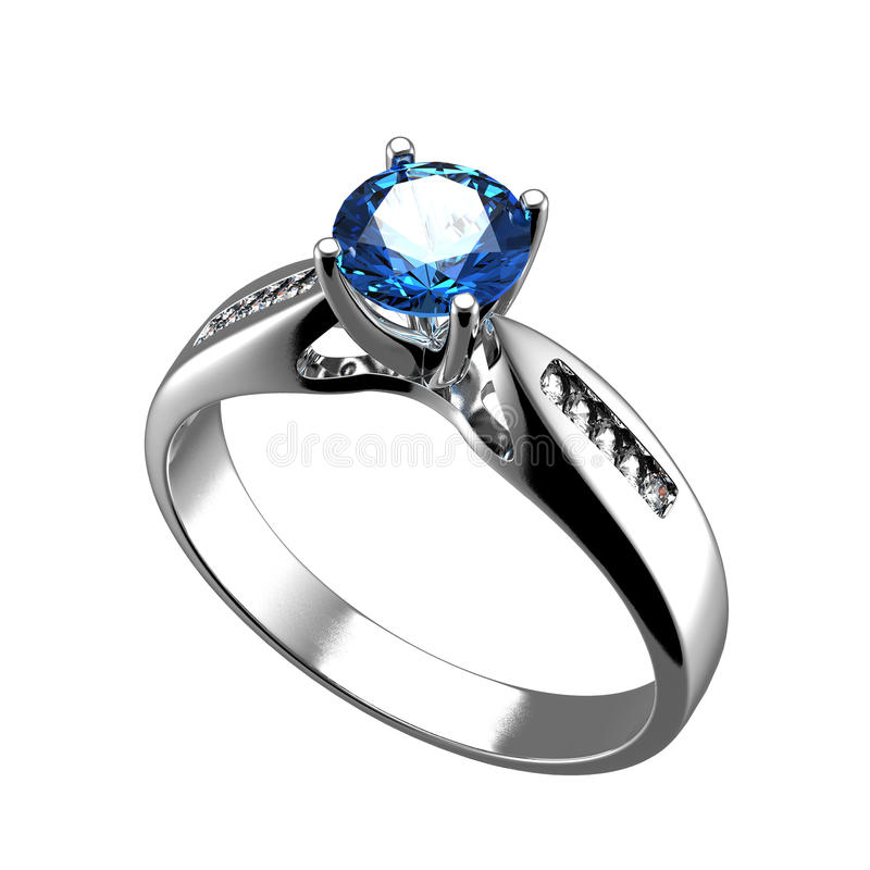 Wedding ring with diamond on white background. Sign of love. Wedding ring with diamond on white background stock illustration