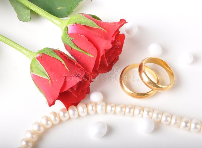 Wedding ring & rose stock image