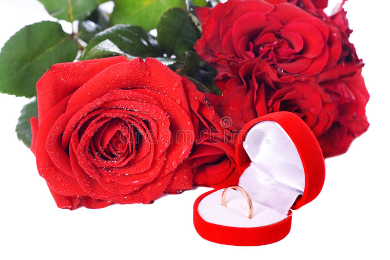 Wedding Ring and Rose, Will you marry me? stock photo