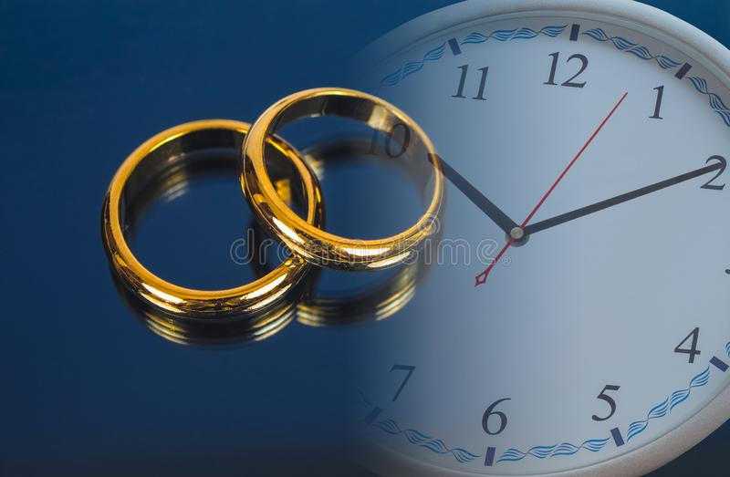Wedding ring on screen of smart phone love. Wedding ring on screen of smart phone and clock. love concept vector illustration