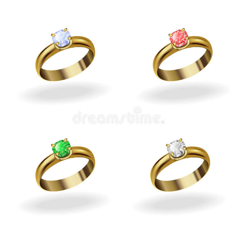 Wedding ring. Set realistic gold ring with a precious stone, emerald, ruby, topaz, diamond stock illustration