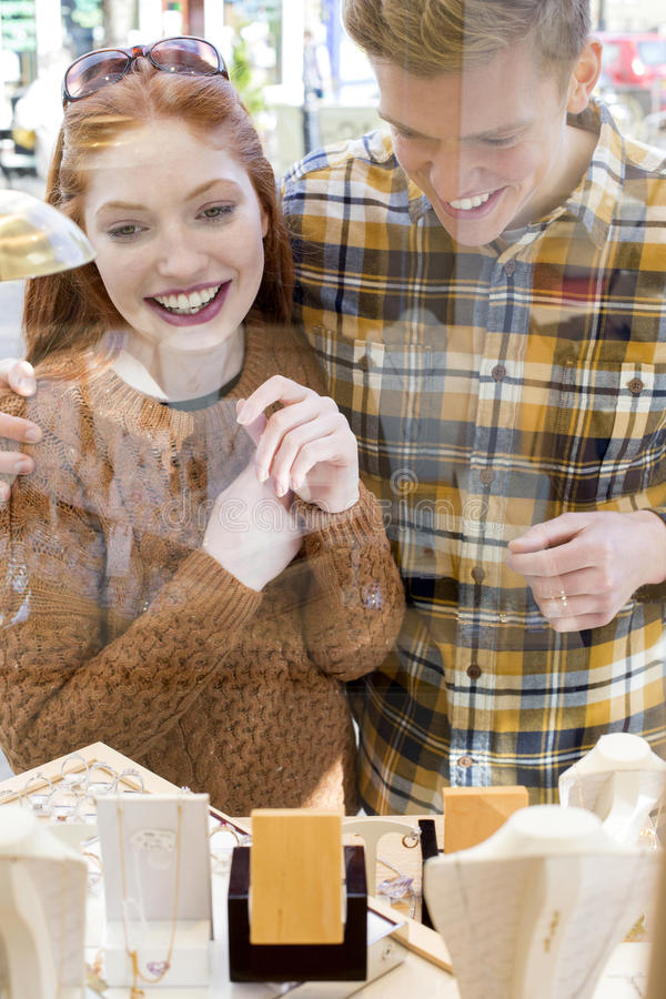 Wedding Ring Shopping stock images