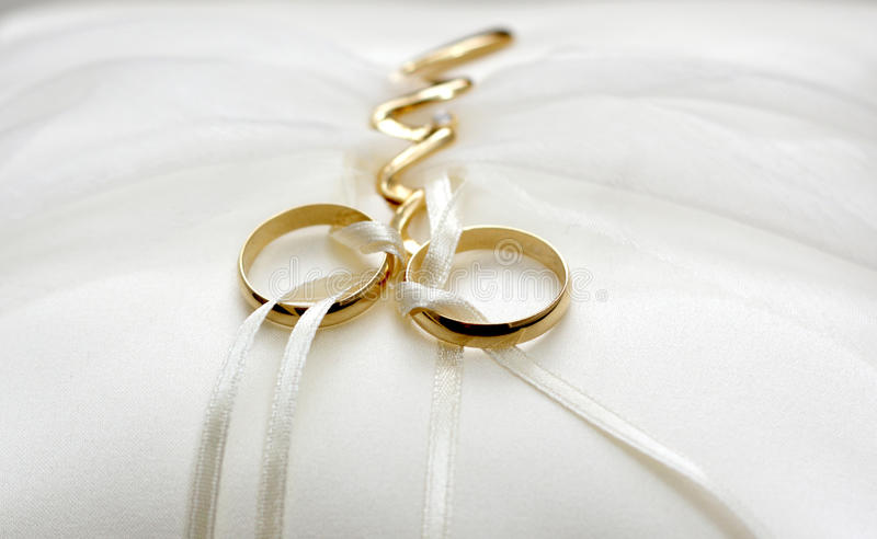 Wedding rings. With small pillow stock photography