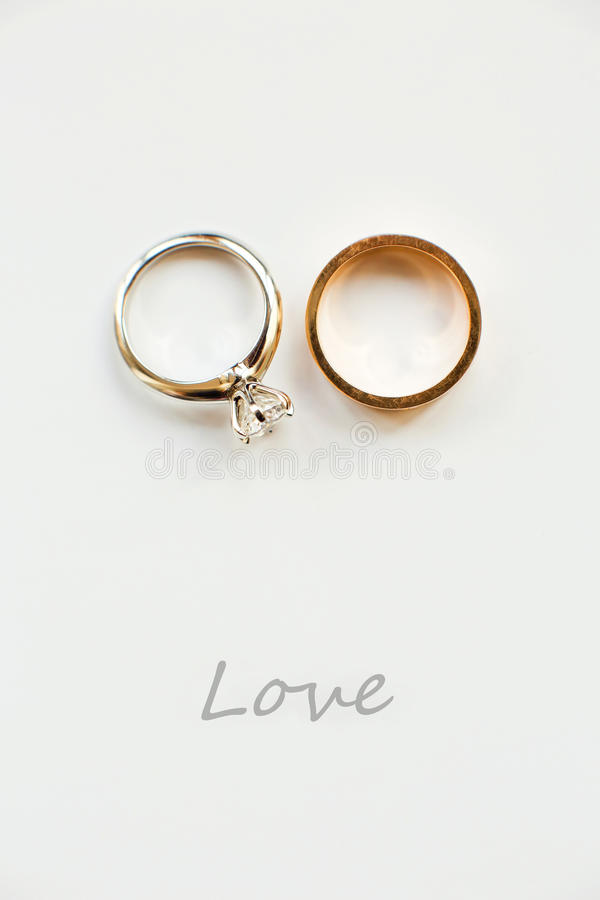 Wedding rings. On white background royalty free stock photo