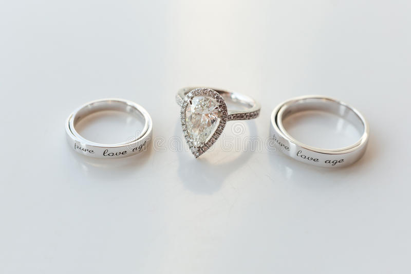 Wedding rings. Isolated on the white royalty free stock image