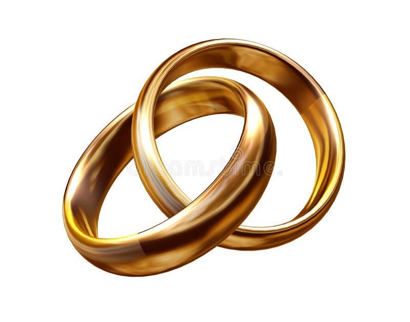 Wedding rings 3D royalty free illustration