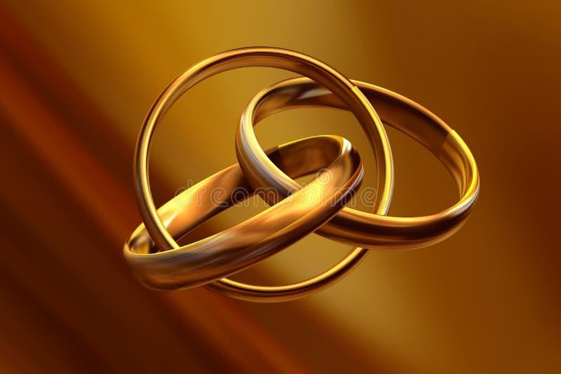 Wedding rings 3D vector illustration