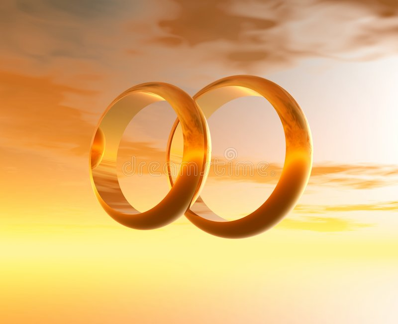 Wedding rings. 3D graphics royalty free stock photography