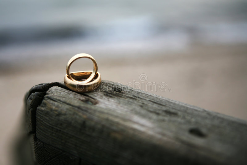Wedding rings. Two wedding rings on top of each other lying at a piece of wood on the beach. You see the waves and the sand blurry in the background