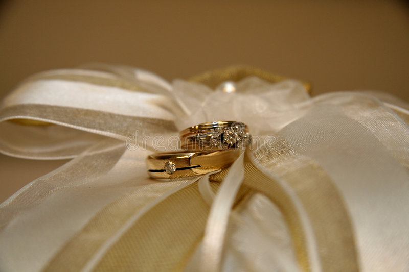 Wedding Rings. On a ring-bearer's pillow stock images