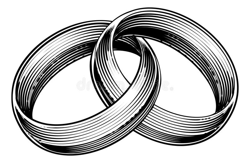 Wedding Rings Bands Engraved Etching Woodcut Style. Wedding rings or bands in a vintage retro engraved etching woodcut style vector illustration